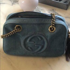 Gucci Soho Chain Zipped Shoulder Bag Denim Small